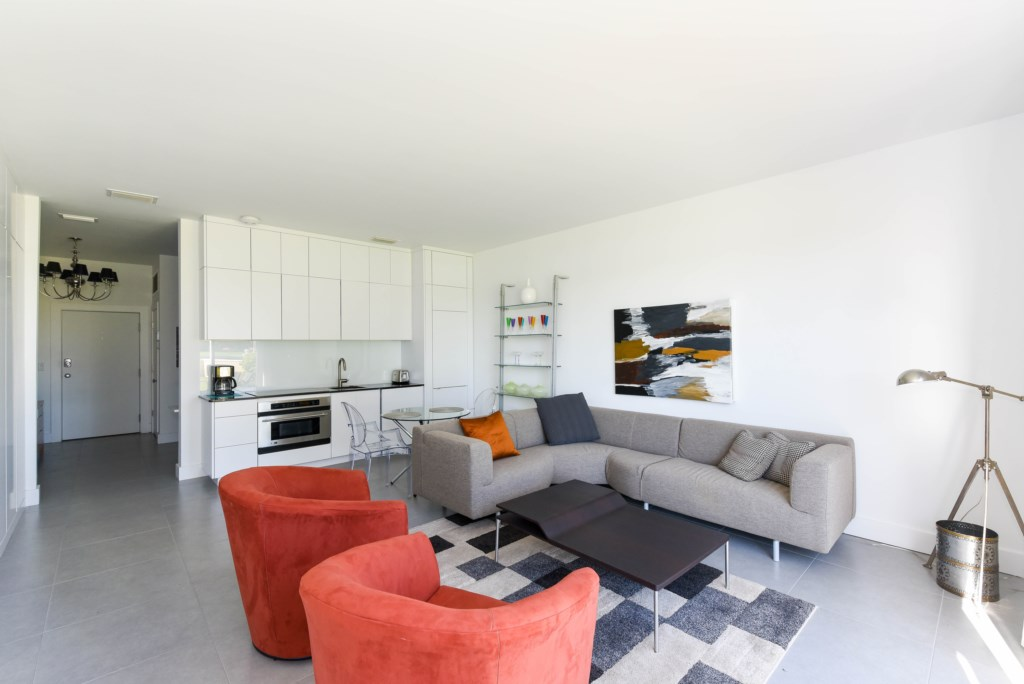 Living Area with view of kitchen