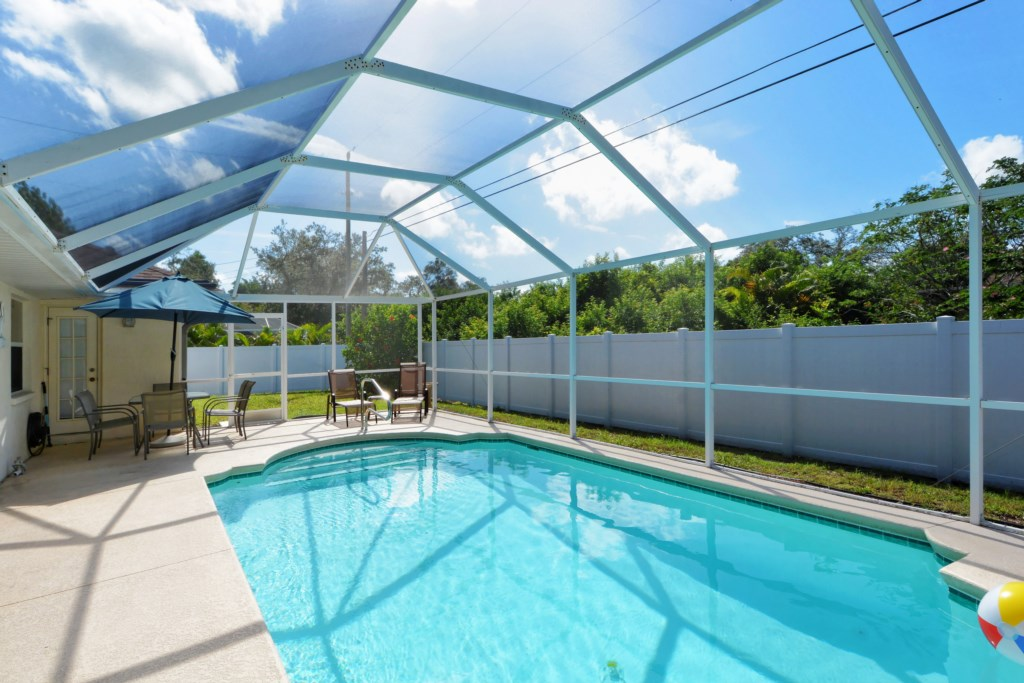 Private, Caged-In Pool, solar heated