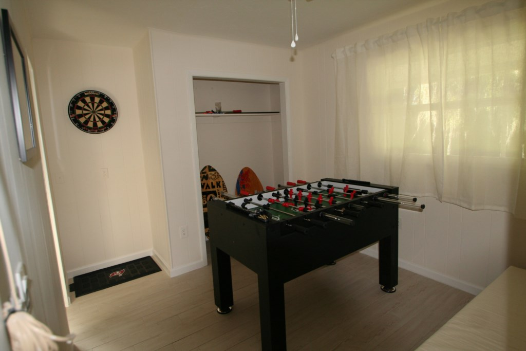 Game Room with Darts and Foosball