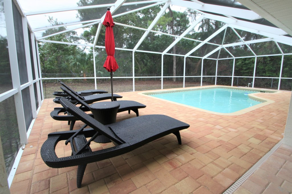 Pool with pool deck and loungers
