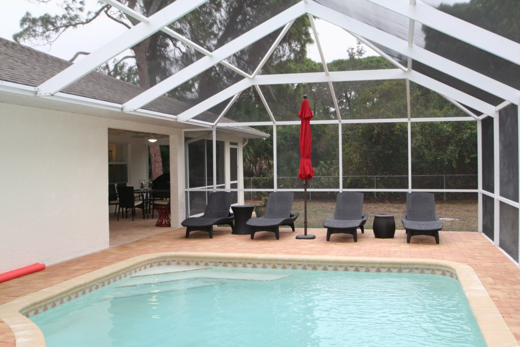 Pool area with covered lanai
