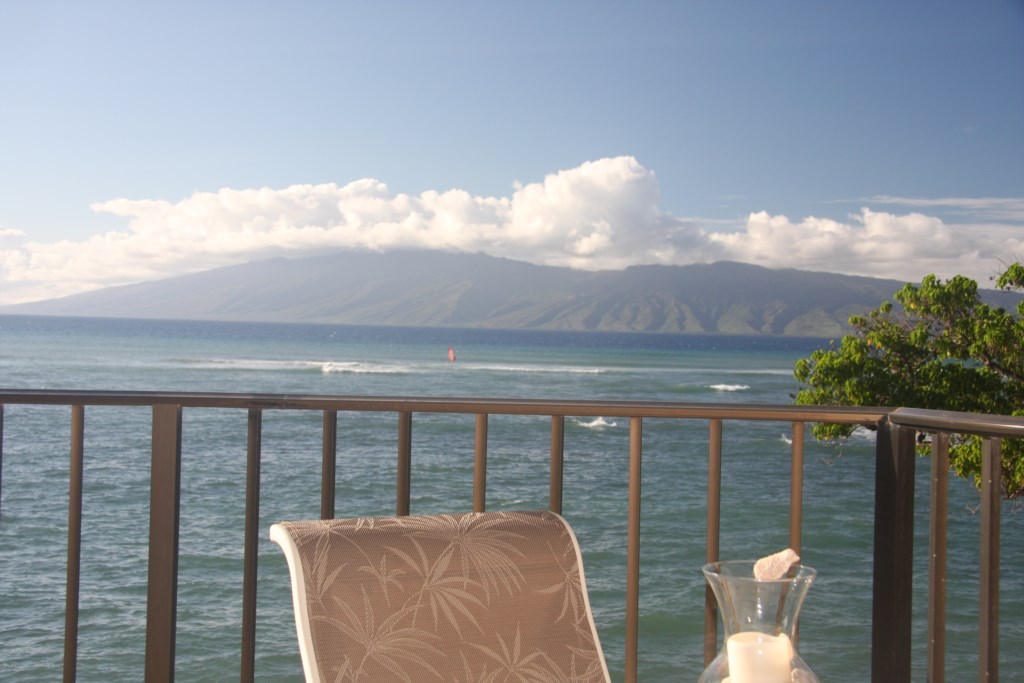 Stunning view of the tropical islands of Molokai and Lanai from your own lanai for happy hour!