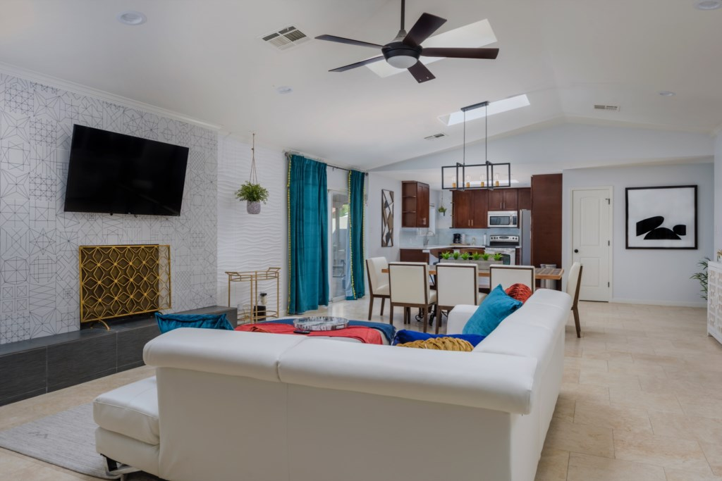 Bright sunny living areas with 12 foot ceilings