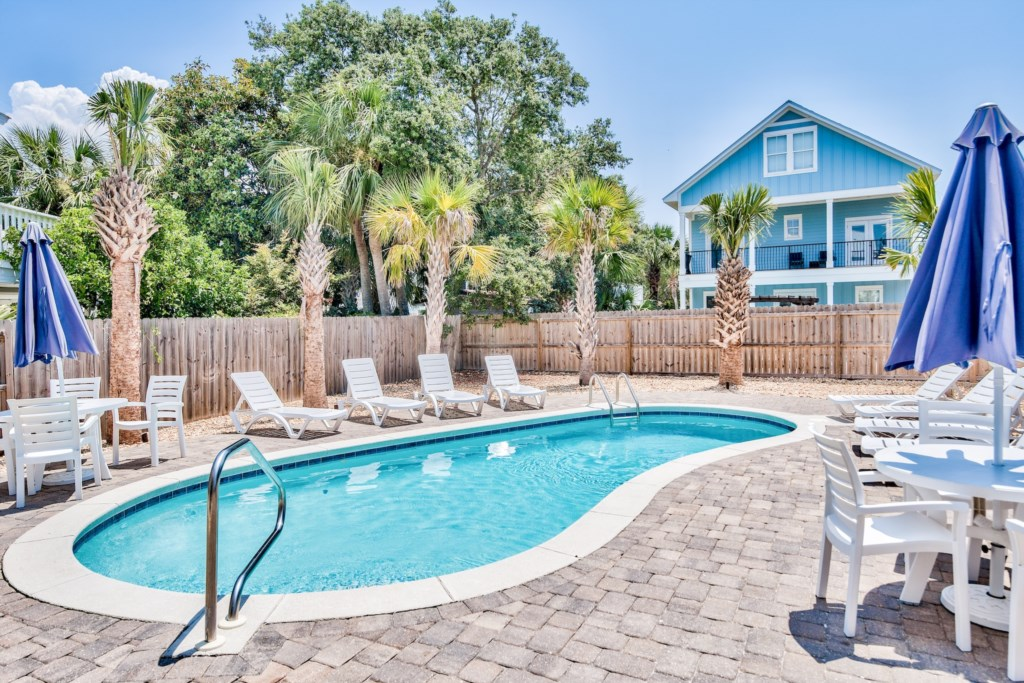 Spacious patio with large 25ft x 11ft  heated pool