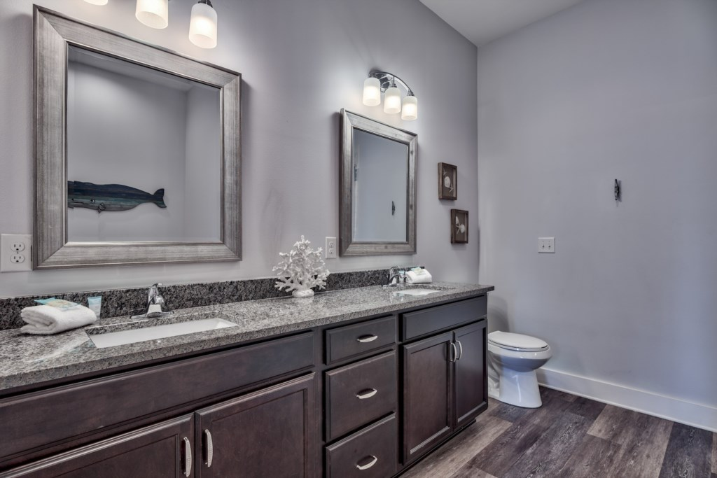 1st Floor Master with double vanity with lots of space for your items