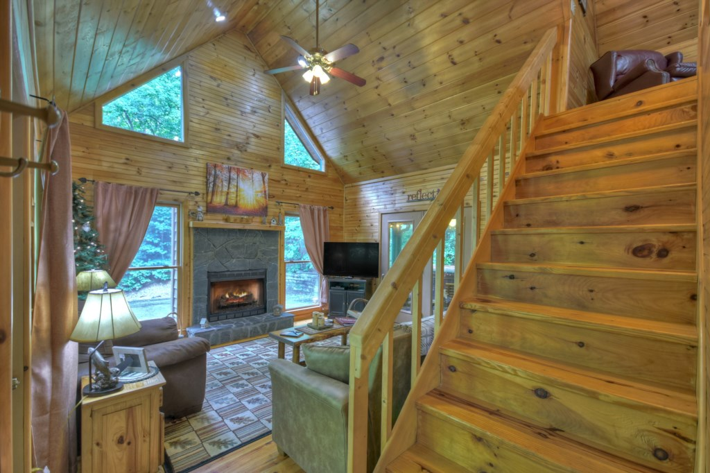 Stone fireplace with Propane Gas for convenient cozy fires