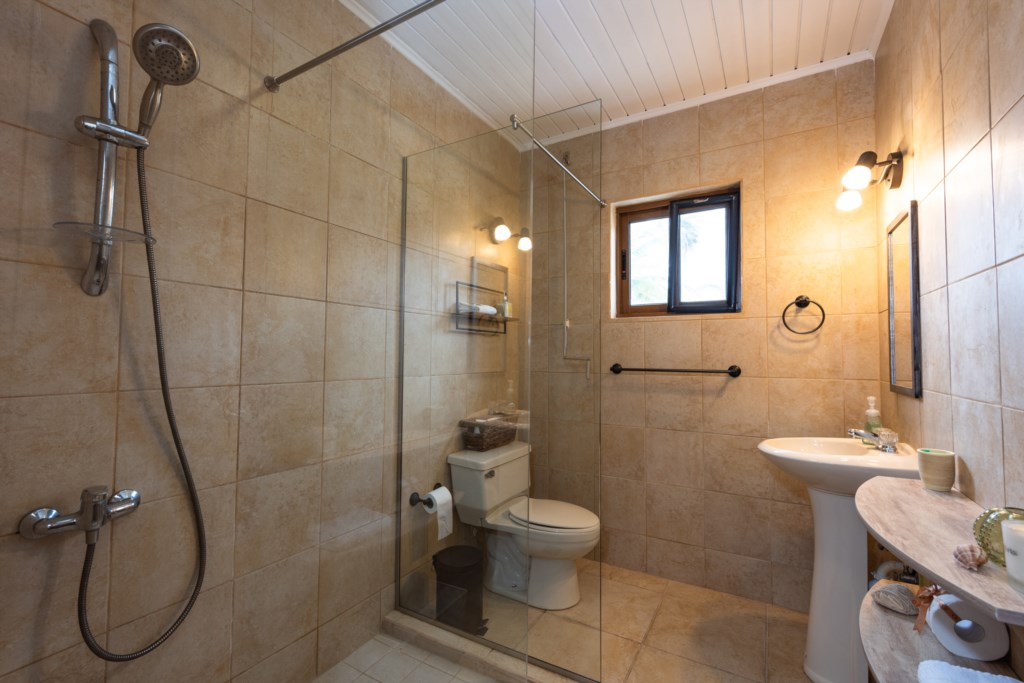 Spacious bathroom with heating