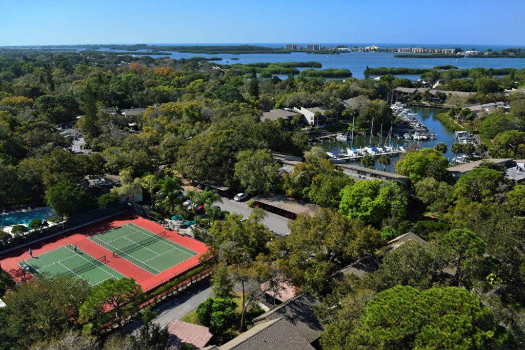 Tennis Courts and Marina Aerial View of Pelican Cove Community