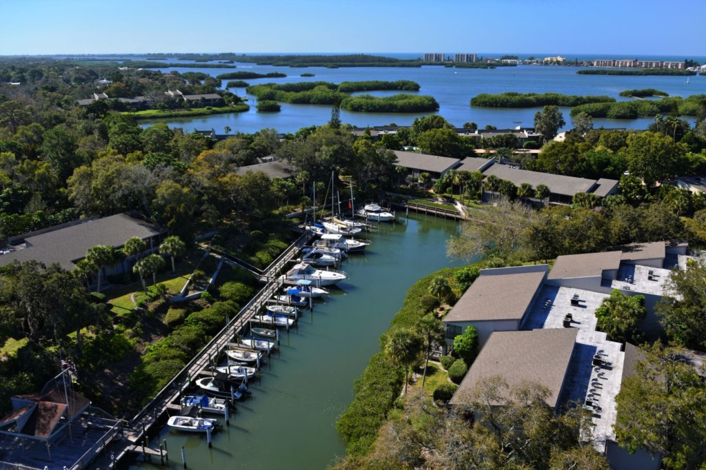 Marina and Bay Aerial View of Pelican Cove Community