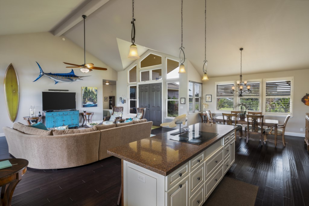Amazing open floor kitchen with island facing living room & dining area