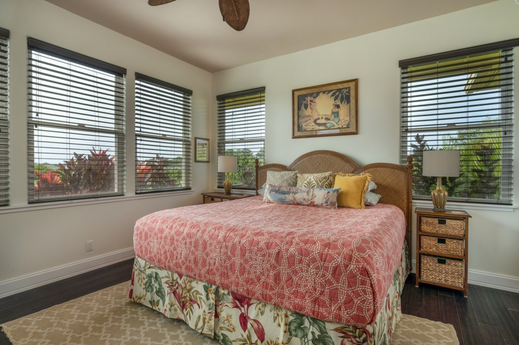 Comfy bedroom / ceiling fan with great lighting