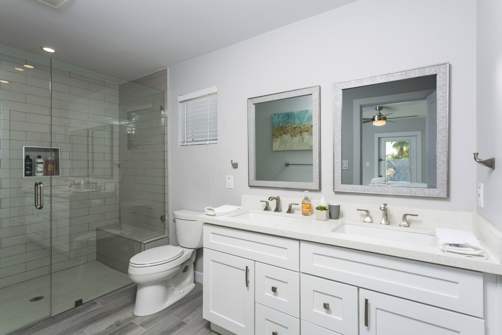 Master bathroom with huge walk in shower