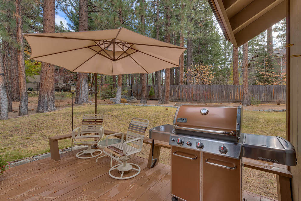 The backyard is the perfect spot for grilling whilst enjoying the Forest views around the patio