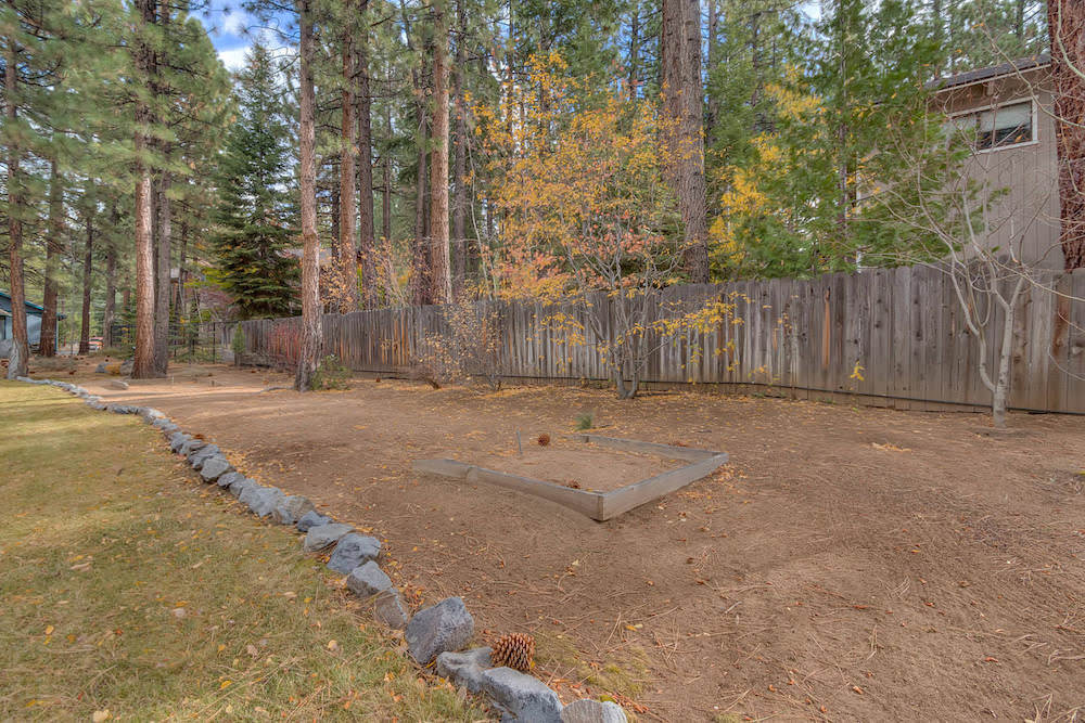 Enjoy a game of Horseshoe Pit in the fenced in backyard