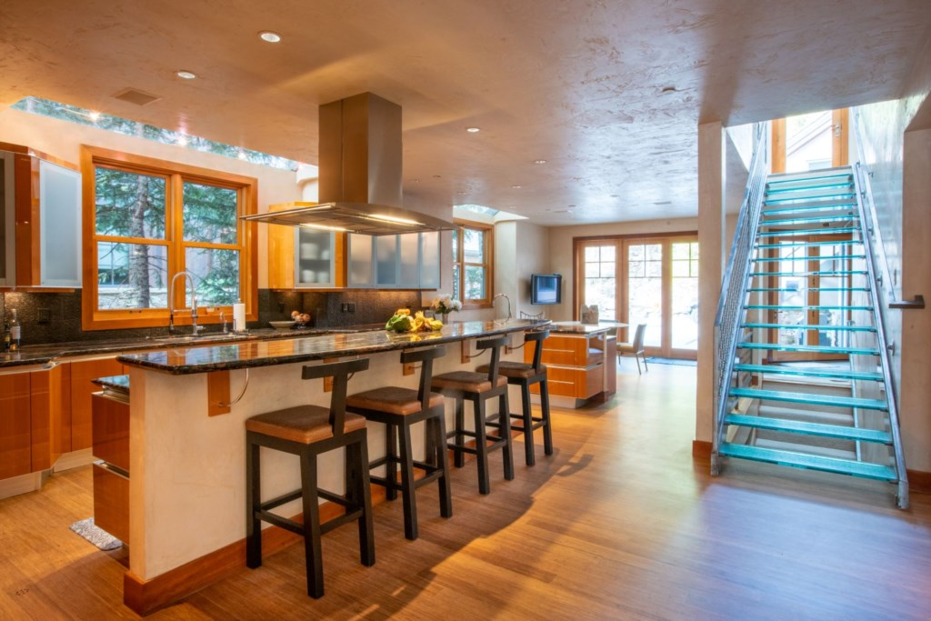 Kitchen to Breakfast Nook and Glass stairs