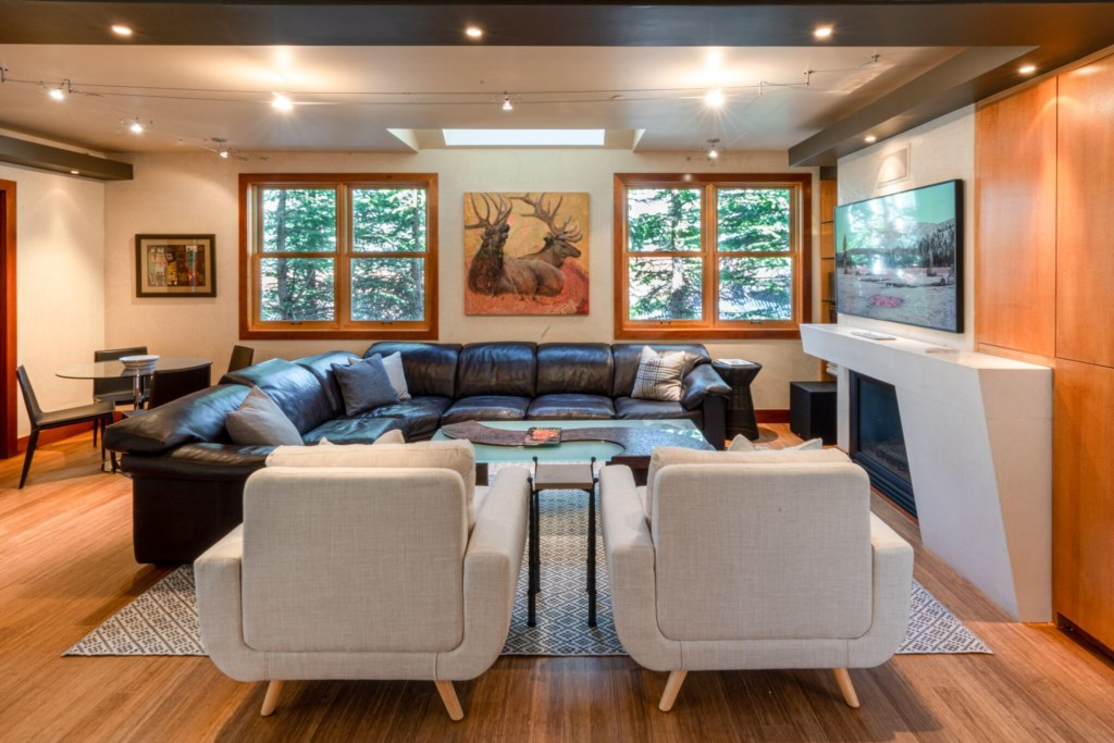 Family Room with Smart TV and game table