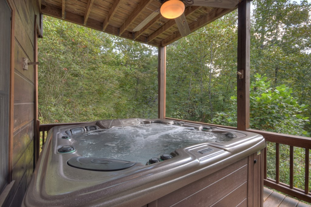 Soak after a day of sightseeing in your hot tub and take in the amazing view