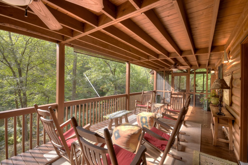 Amazing woodland views from the porch with plenty of seating for those large gatherings