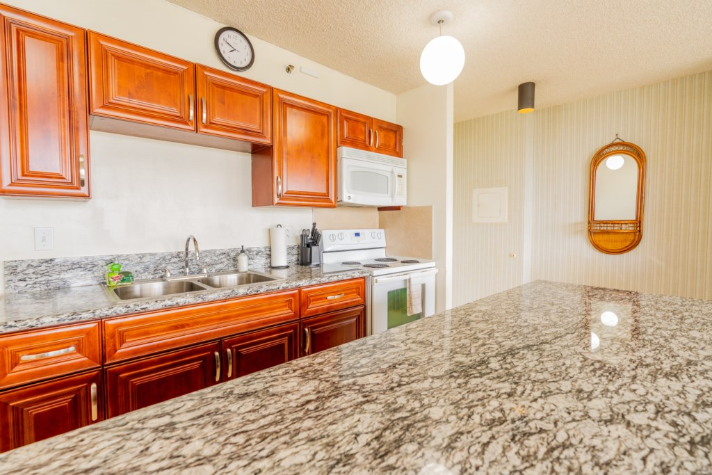 Fully equipped kitchen with counter space