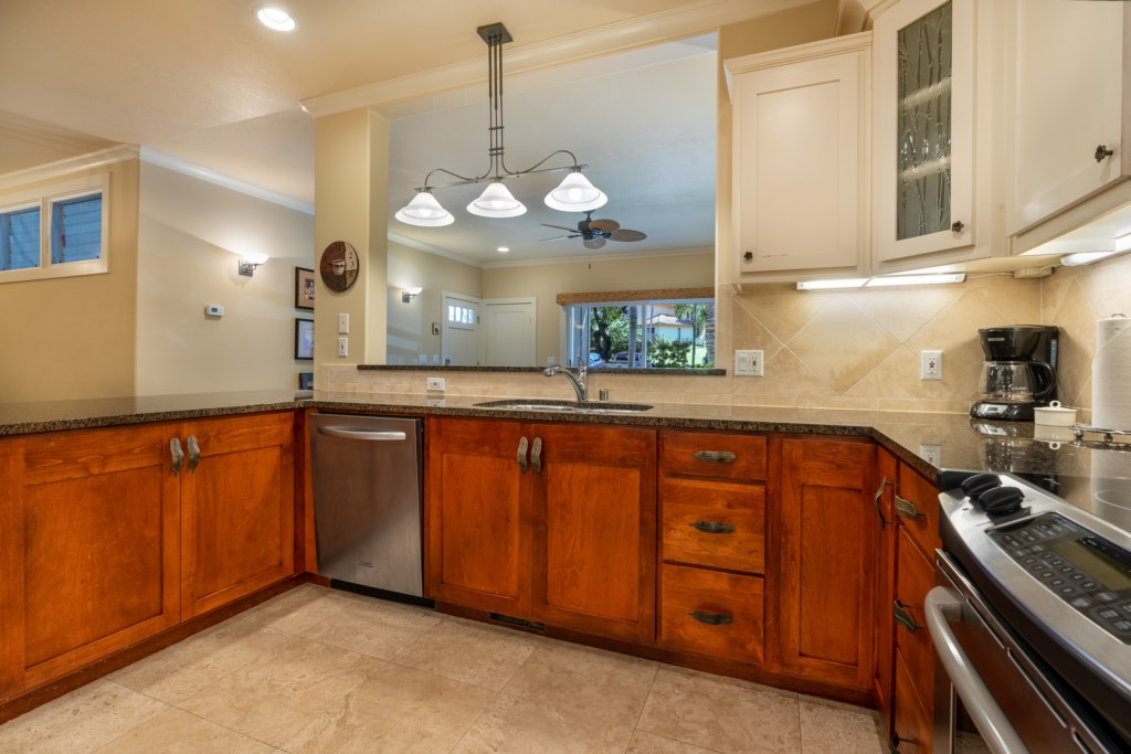 Open kitchen with wrap around counter space