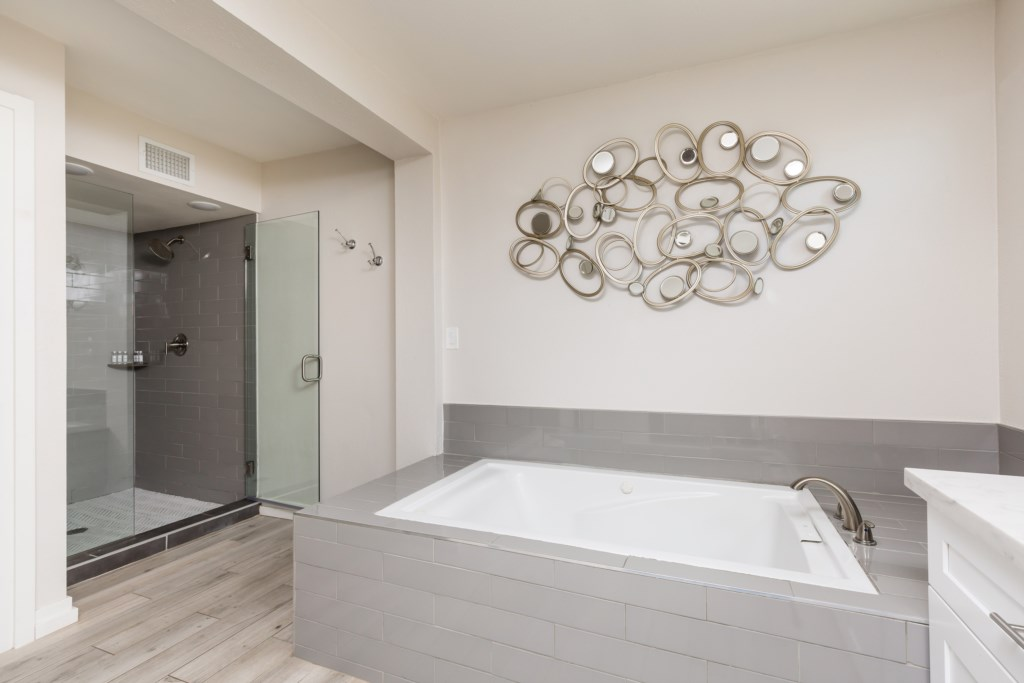 Master bathroom with soaking tub and walk in shower