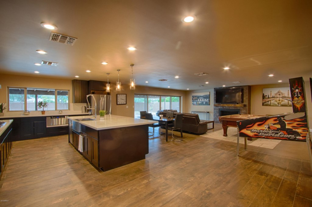 Large open concept kitchen/family area