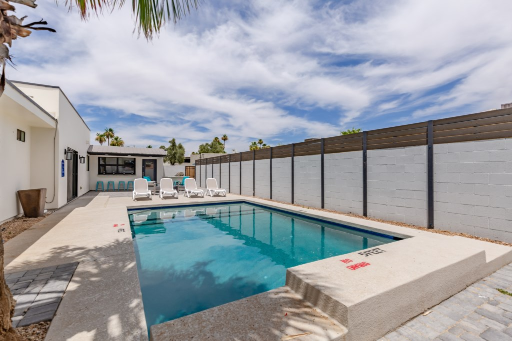 Large private pool and backyard