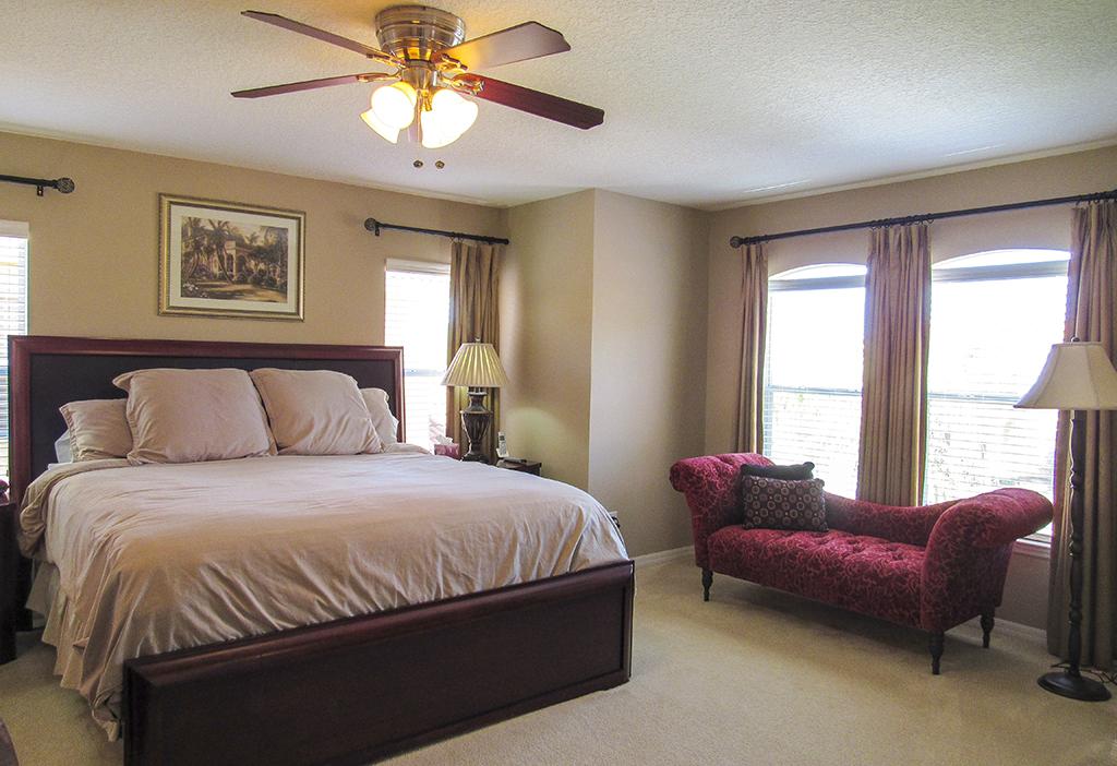 Stylish master bedroom (upstairs).