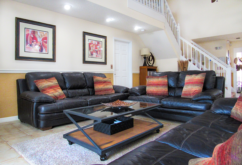 Family room includes large flat screen TV for your enjoyment.