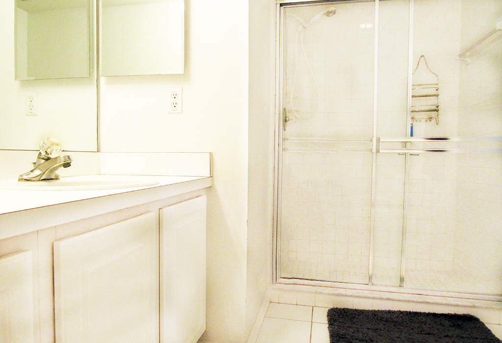 Master bathroom with walk-in shower and dual sinks.