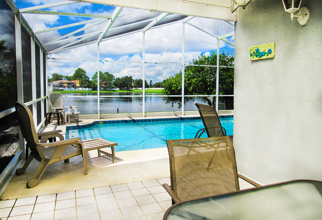 View of outside dining overlooking your pool.