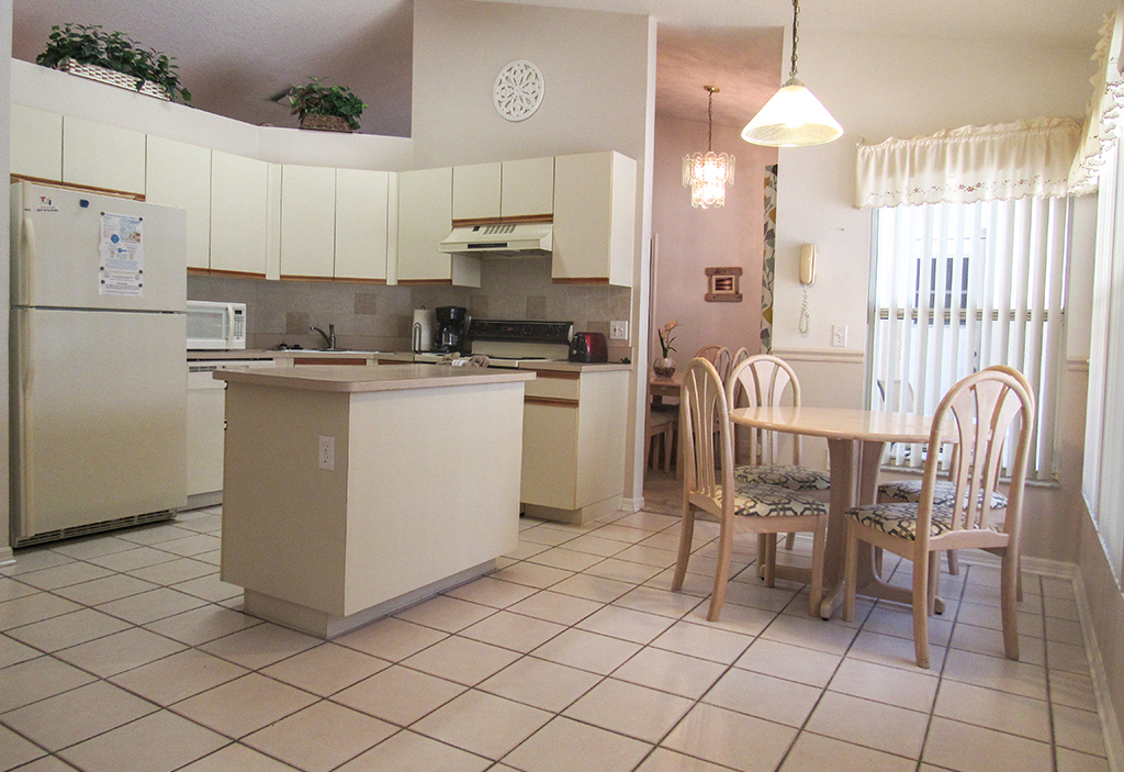 Open plan kitchen with island and all your self-catering requirements included.