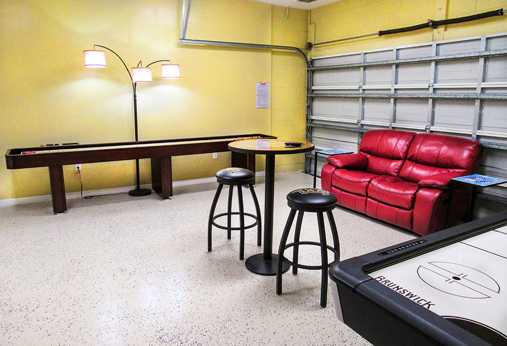 Comfortable seating in the air conditioned games room.