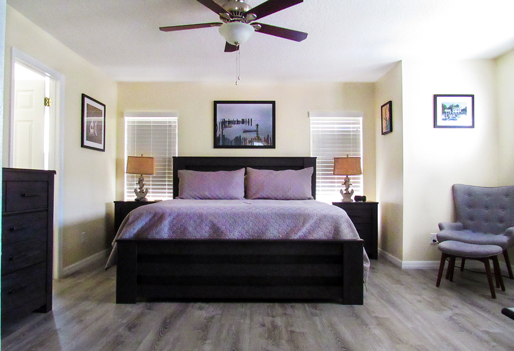 Luxurious master suite with King size bed.
