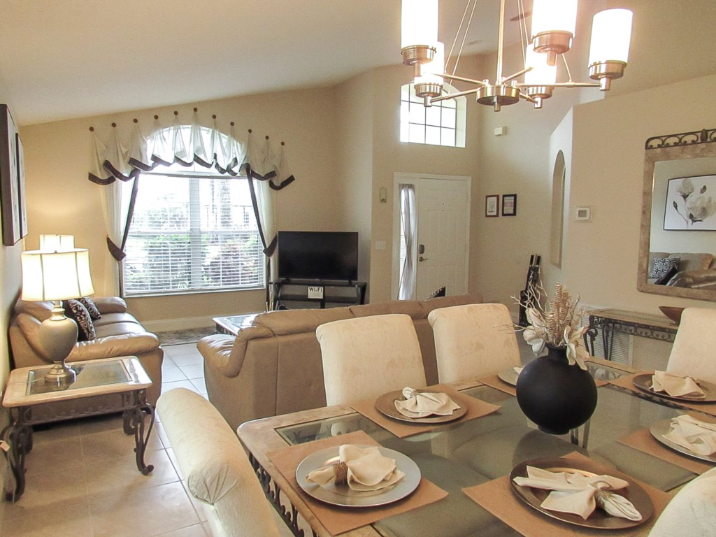 Dining areas and living space is plentiful.