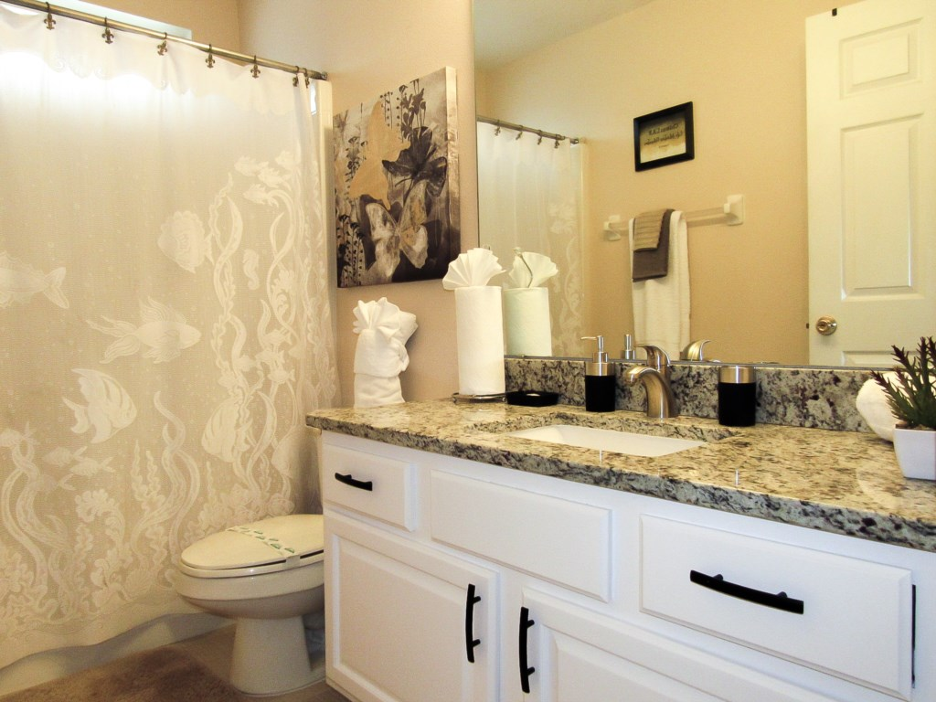 Guest bathroom, well accessible by all 3 guest bedrooms.