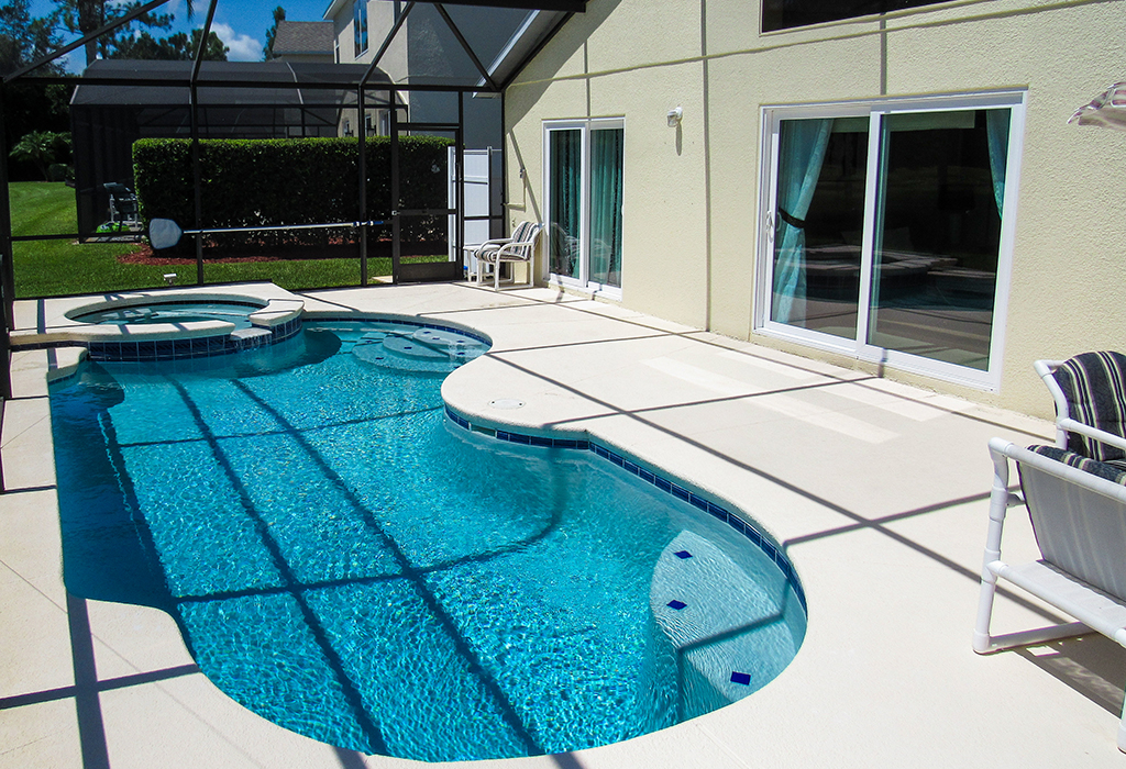 Pool access from master suite and family room.