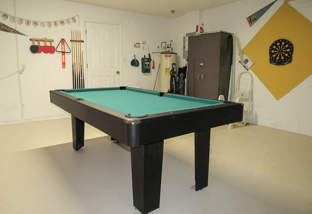 Games room includes pool table for your enjoyment.