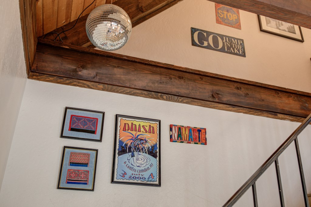 The house decor reflects a love of music, California and the great outdoors