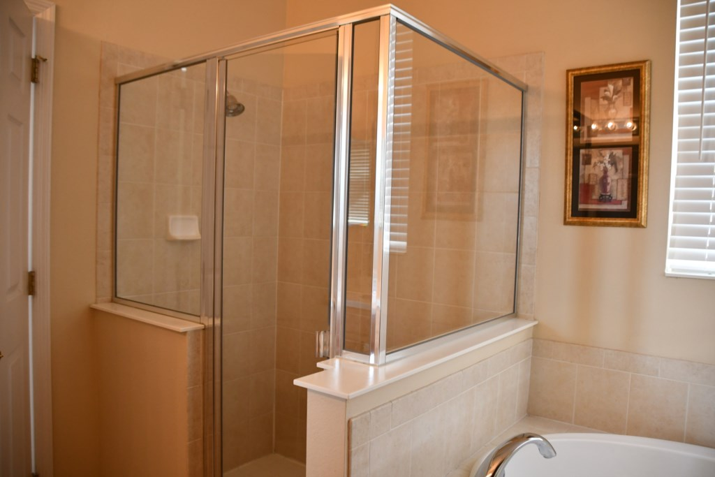 Master Bathroom walk-in shower with glass enclosure