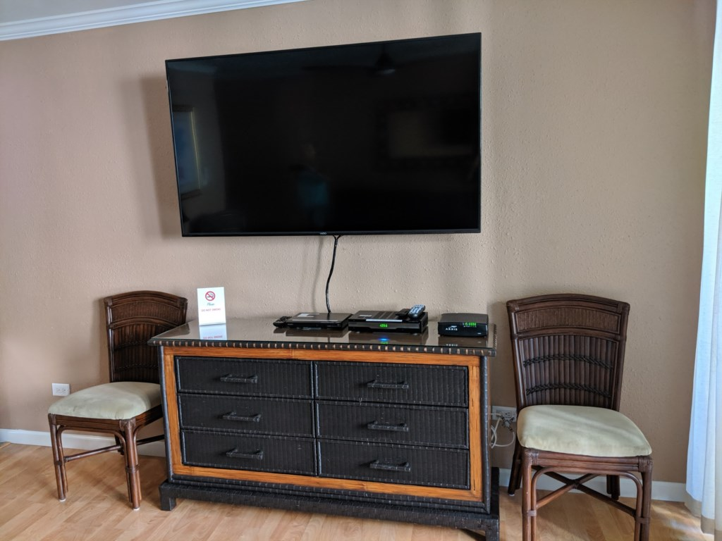 New 66 Inch Vizio smart TV. CD/DVD player. In unit Wi-Fi. Extra dresser in living room for storage of personal items.
