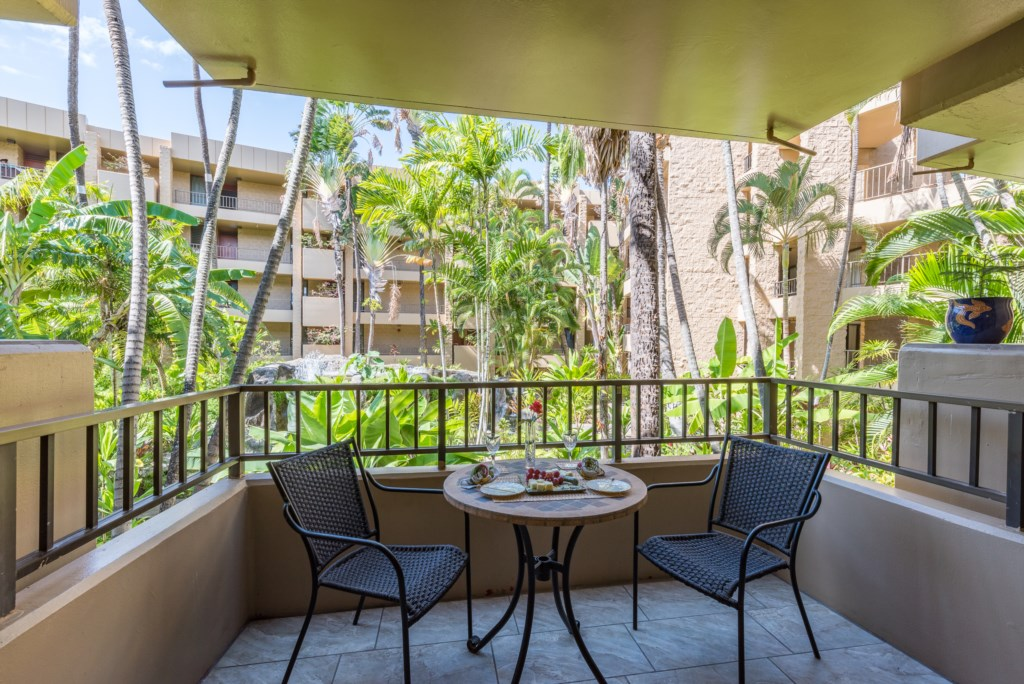 Private Lanai Overlooking Waterfalls and Koi Pond and Lush Gardens