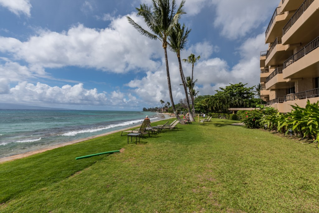 The grassy knoll beachside at Paki Maui offers a world-class view of this famous coastline