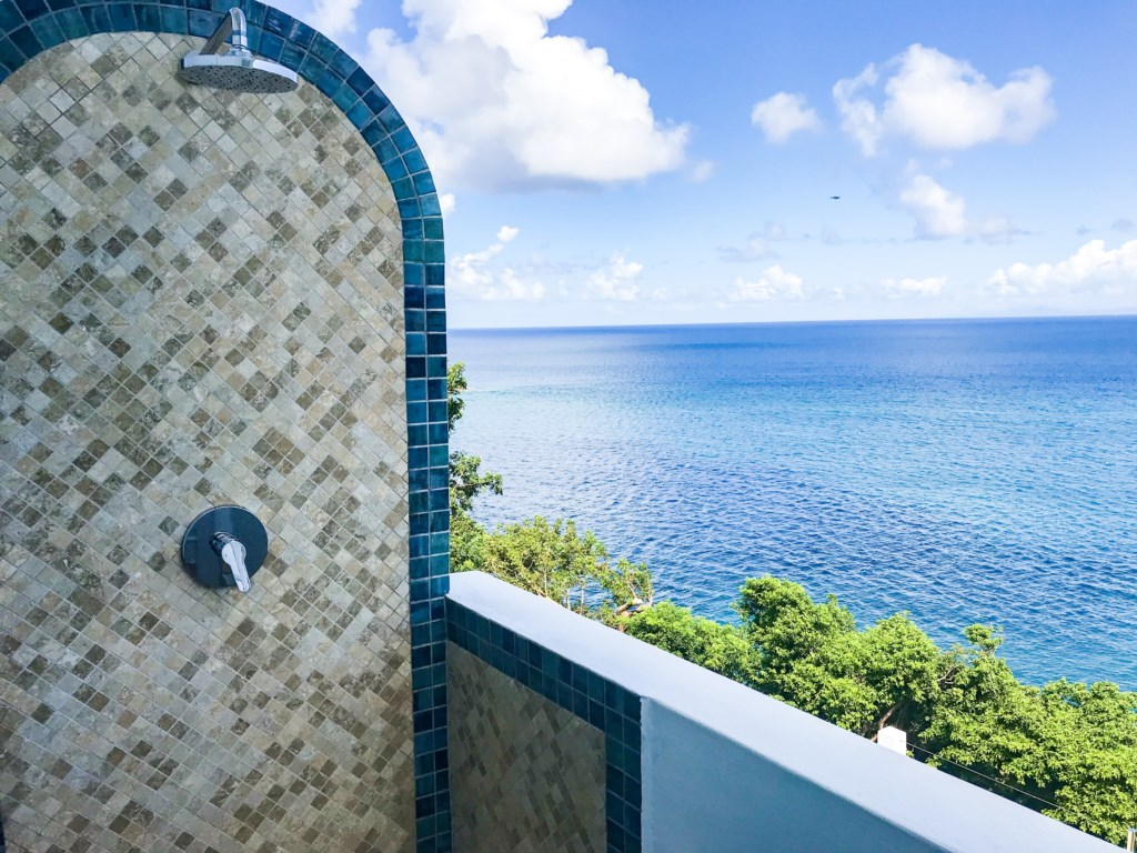 Outdoor master shower.