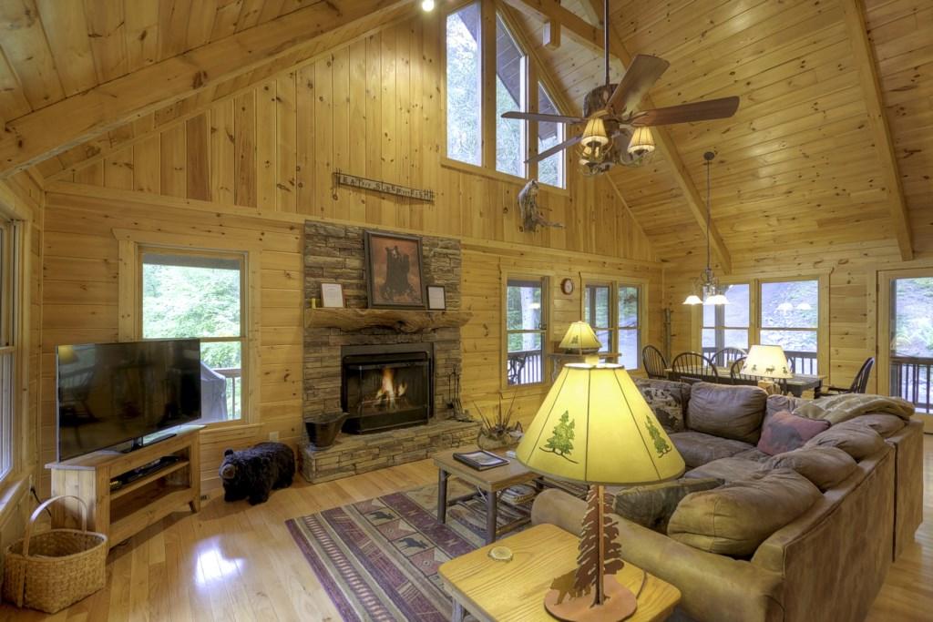 Seasonal wood burning fireplace