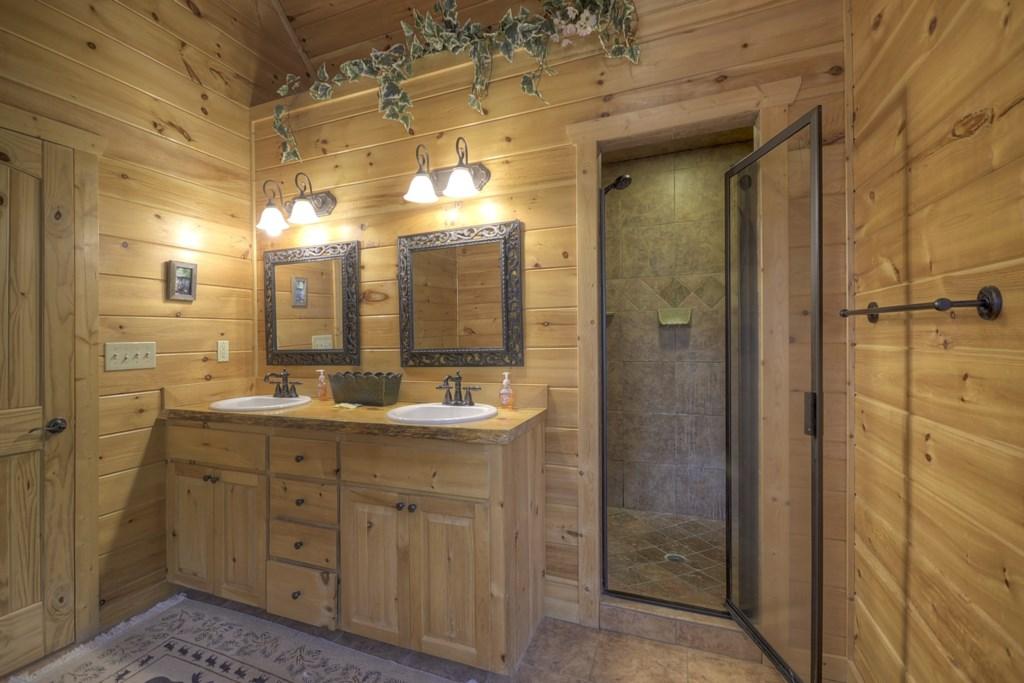 Loft master bathroom vanity & walk in shower