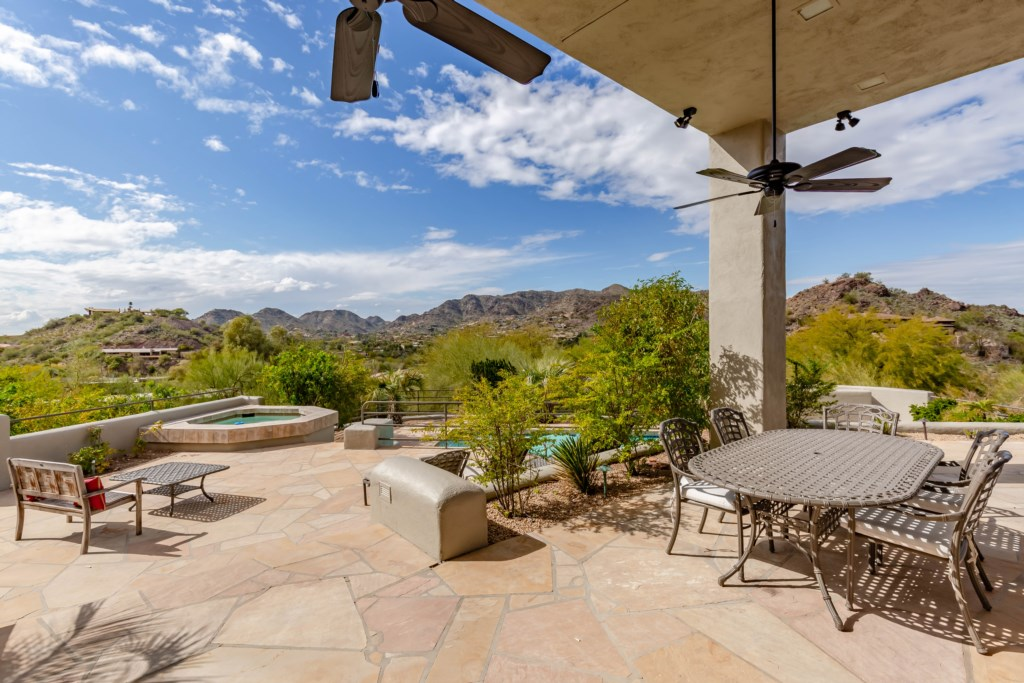 Back patio overlooking the mountains