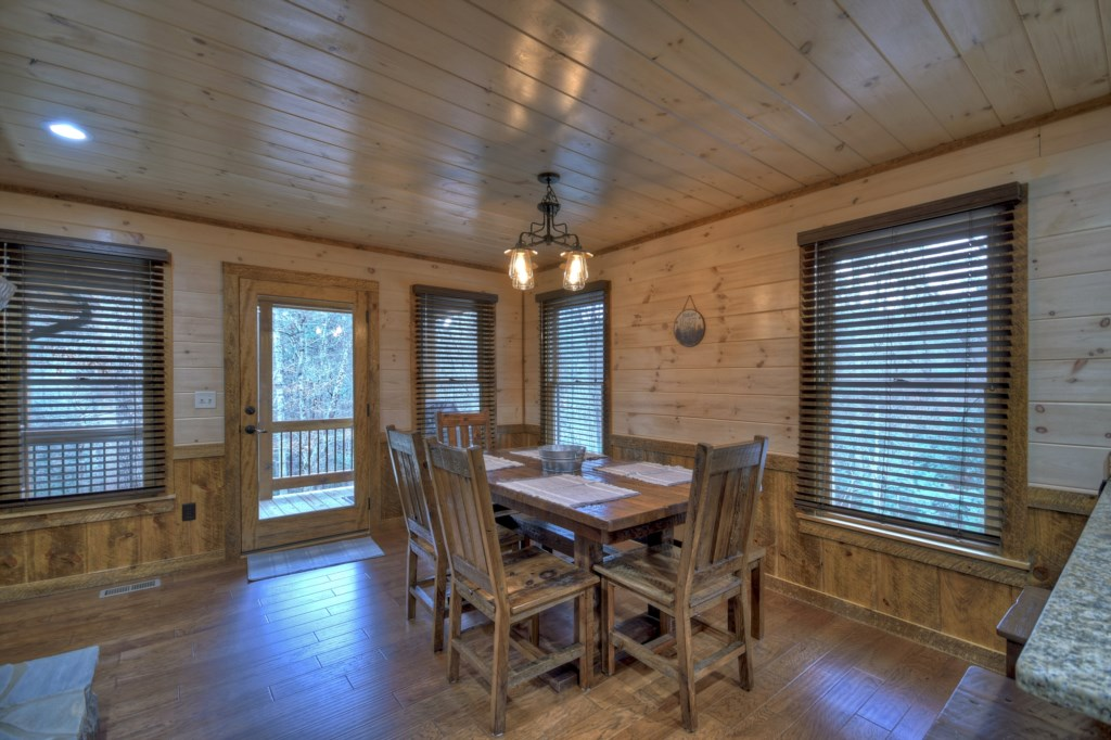 Light and Airy with lots of natural light from the abundance of windows in this cabin