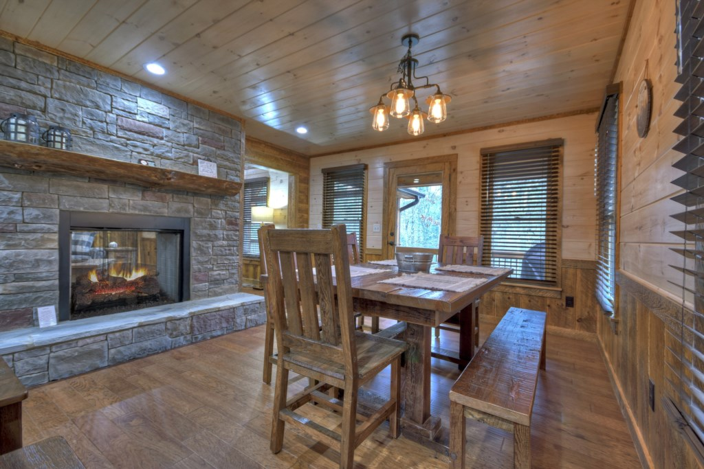 Sit back and enjoy your favorite meal in this stunning dining room ideal for all gatherings