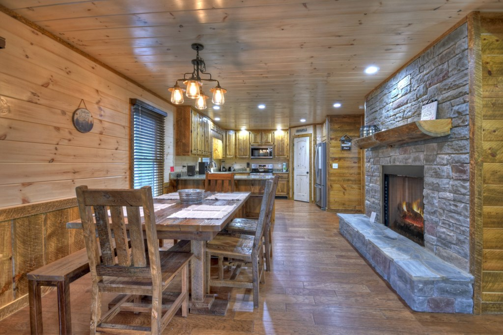 Open plan Kitchen/Dining room with a fireplace